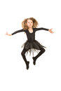 Dancer girl in the air little black dress jumping isolated on white background Stock Photo
