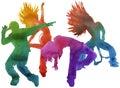 Dancer in hip hop. insulated. Watercolor.