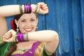 Dancer in Indian Sari Stock Images