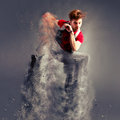 Dancer jumping from explosion Royalty Free Stock Photo