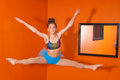 image photo : Dancer jumps