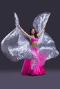 Dancer performing oriental dance with wings Stock Photo