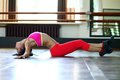 Dancer in pink clothes on the floor Royalty Free Stock Photo