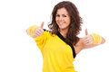 Dancer showing both thumbs up Royalty Free Stock Photos
