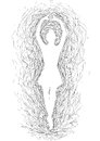 Dancer sketch illustration of a ballerina who dances Royalty Free Stock Photos