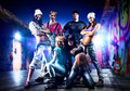 Dancer team on night urban background Royalty Free Stock Image