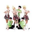 Dancer team wearing a folk ukrainian costumes Royalty Free Stock Image