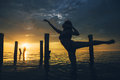 Dancer water sunset Royalty Free Stock Photo