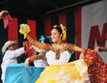 Dancer of xochicalli mexican folkloric ballet performs in a concert on grand place during edition of folklorissimo festival on Royalty Free Stock Image