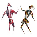 Dancers abstract design dance characters over white Royalty Free Stock Photo