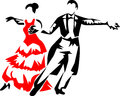 Dancers ballroom stylized black and red illustration Royalty Free Stock Image