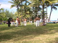 Dancers beach reunion island being filmed Stock Photo