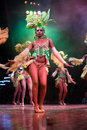 Dancers with beautiful dresses performed in Tropicana, May 15, 2013 in Havana, Cuba.formed Royalty Free Stock Photo