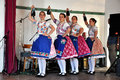 Dancers dancing in traditional slovak costumes torocko rimetea aug folklore clothes participating the hungarian folklore festival Royalty Free Stock Image