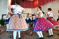 Dancers dancing in traditional slovak costumes torocko rimetea aug folklore clothes participating the hungarian folklore festival Stock Image