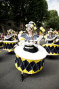 Dancers in a drum costume at Notting Hill Carnival Royalty Free Stock Images