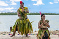 Dancers in the south pacific young woman and man of an tropic island nukuaslofa tonga are showing their traditional dances Royalty Free Stock Photography