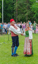 Dancers in Swedish Traditional costume on midsummer day Royalty Free Stock Photo