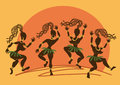 Dancing african aborigine girls at sunset illustration with funny Stock Photos