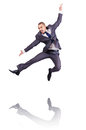 Dancing businessman isolated white Royalty Free Stock Images