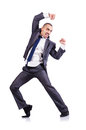 Dancing businessman isolated white Stock Photos