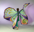 Dancing butterfly woman young in a colorful costume Stock Photo