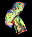 Dancing butterfly woman young dressed in a colorful costume in black back Stock Images
