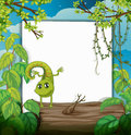 A dancing chameleon and a white board illustration of in beautiful nature Royalty Free Stock Images
