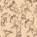 Dancing children  seamless pattern