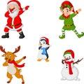 Dancing christmas cartoon santa claus, elf, reindeer, penguin and snowman