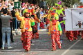 Dancing clowns paphos cyprus march children in carnival costumes carnival in cyprus Royalty Free Stock Image