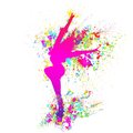 Dancing colorful girl splash paint dance on white Royalty Free Stock Photo