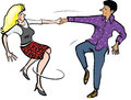 Dancing couple young together energetically Royalty Free Stock Photos