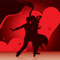Dancing couples with background of hearts Royalty Free Stock Photo