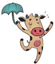 Dancing cow vector illustration of a cartoon happy and holding an umbrella Stock Images