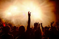 Dancing crowd at music festival. Royalty Free Stock Photo