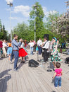 Dancing on the dance floor of Gorky Park, Moscow