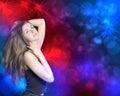 Dancing della donna nel night club Fotografia Stock Libera da Diritti