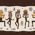 Dancing figures wearing african masks primitive art seamless vector illustration Royalty Free Stock Photos