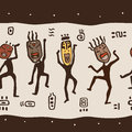 Dancing figures wearing african masks primitive art seamless vector illustration Stock Photo