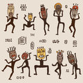 Dancing figures wearing african masks primitive art vector illustration Stock Images