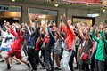 Dancing flash mob Royalty Free Stock Photo