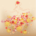 Dancing flower fairy in flowers Stock Photos