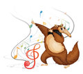 The dancing four legged animal illustration of on a white background Royalty Free Stock Photo