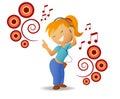 Dancing girl listen music in headphone Stock Photo