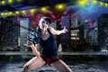 Dancing girl young woman in sport dress in zumba or reggaeton or hiphop style Royalty Free Stock Images