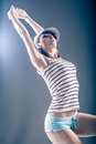 Dancing girl young woman in sport dress in zumba or reggaeton or hiphop style Royalty Free Stock Photos