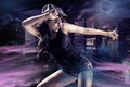 Dancing girl young woman in sport dress in zumba or reggaeton or hiphop style Stock Photography