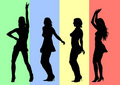 Dancing girls on color Stock Photos