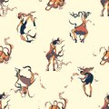Dancing girls seamless pattern design